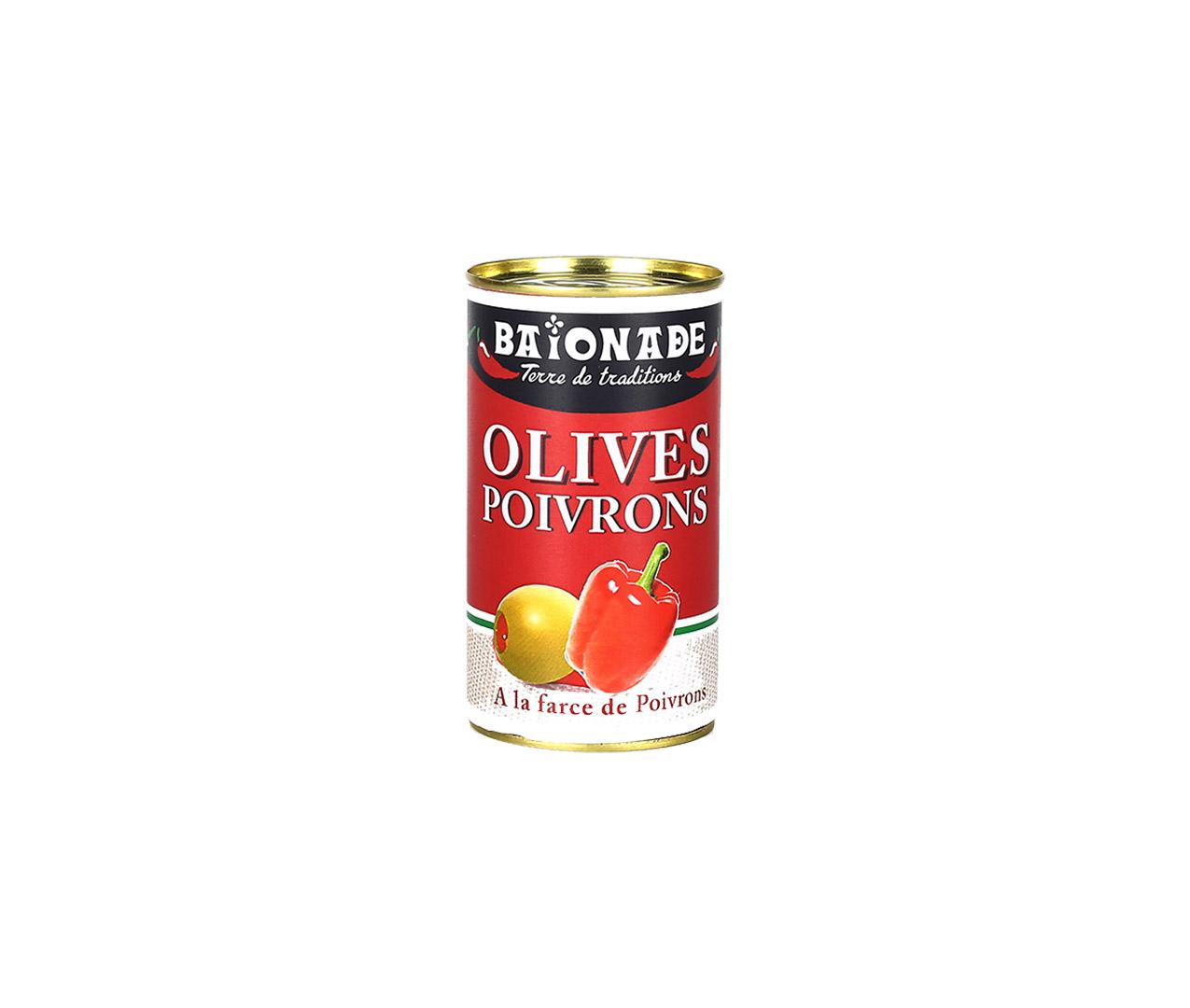 Olives farce poivrons conserve Baïonade